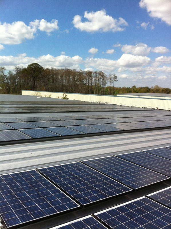 Solar array on a metal roof of a commercial building in Orlando, FL