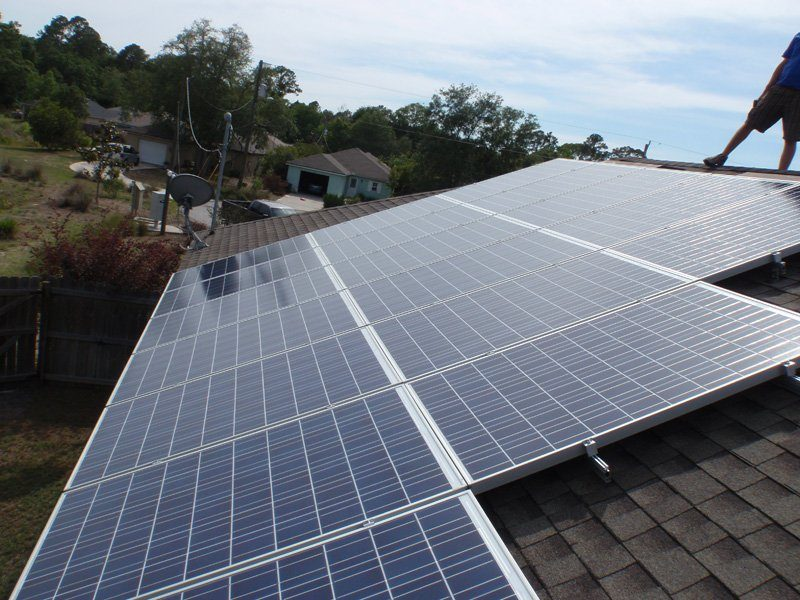 Solar array of solar installation on a shingle roof in St. Augustine, FL