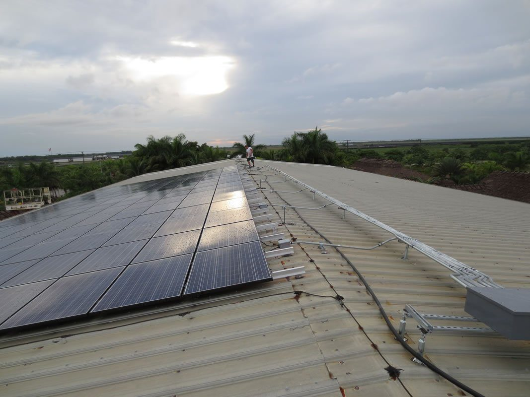 Roof View of Solar panel installation on commercial building in Tampa, FL