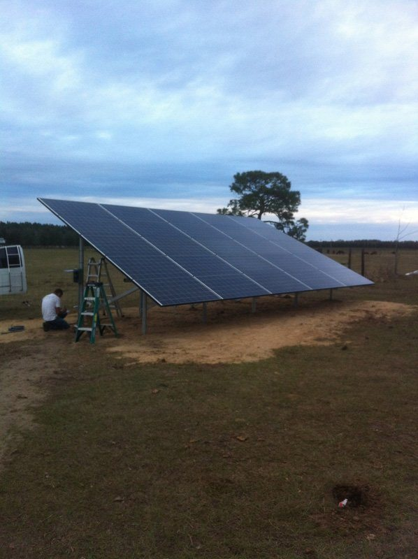 Completed ground mount solar system in Morriston, FL