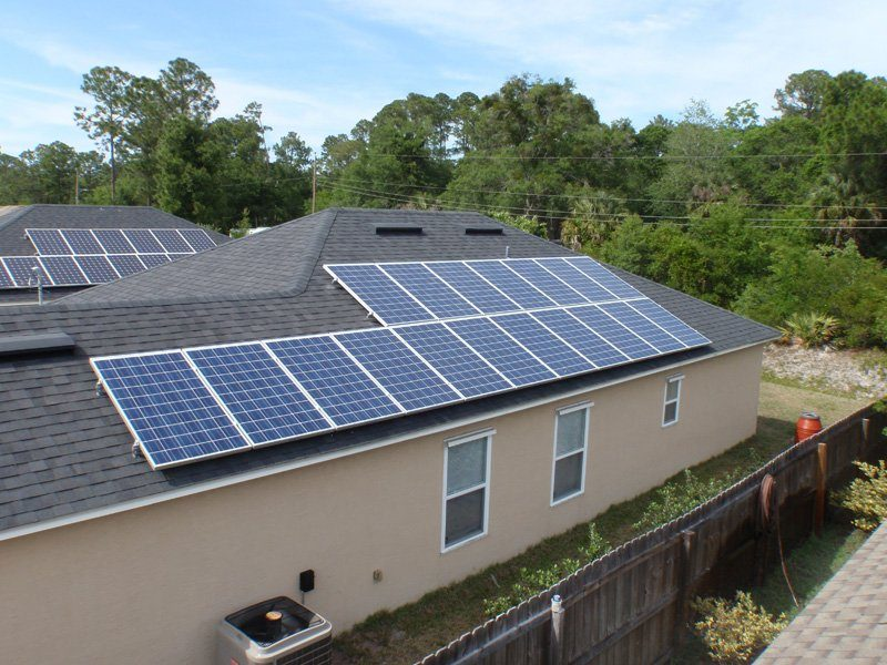 Roof View of solar installation on a shingle roof in St. Augustine, FL