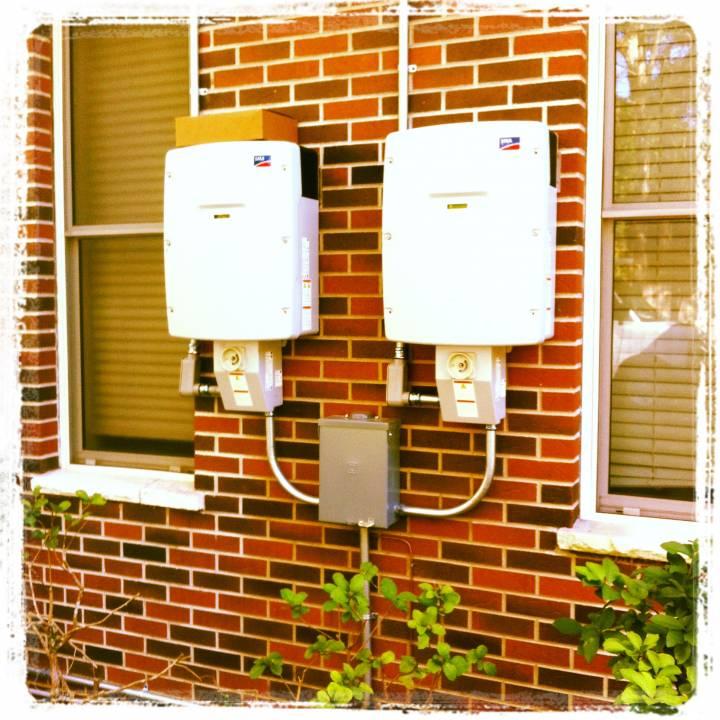 Inverters installed on brick in Brooksville, FL