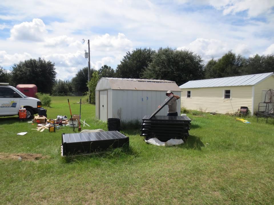 Solar Panels arrive for solar car port to charge solar car in Williston, FL