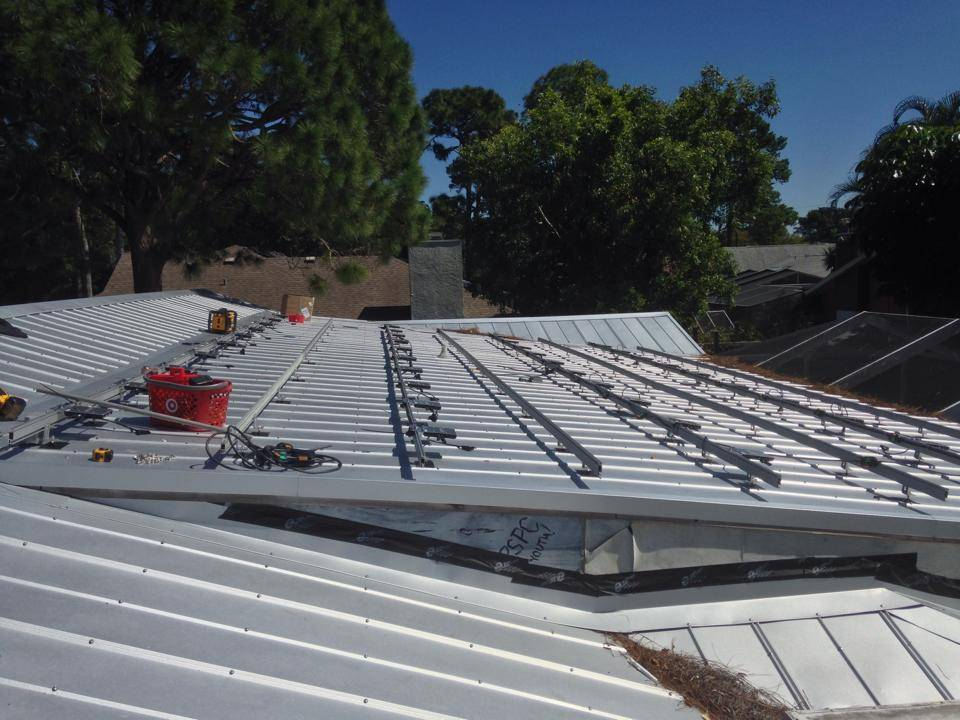 Solar Rails on a metal roof