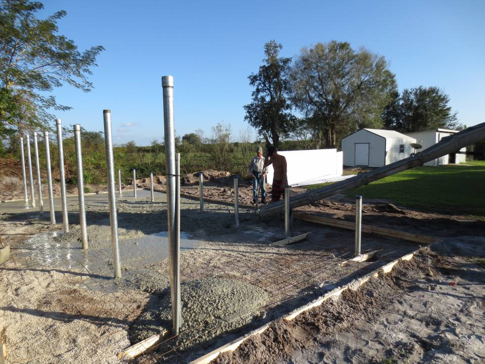 Pouring 24 yards of concrete for the foundation for a solar array