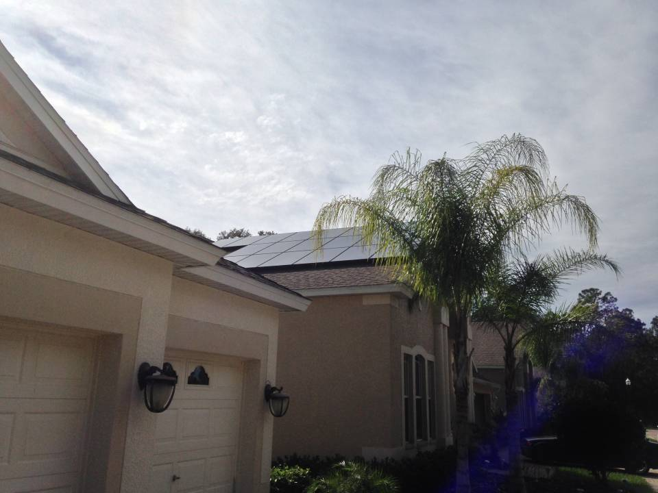 Side View of solar installation in Tampa, FL