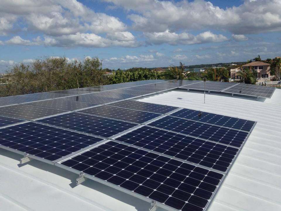 Solar array installed on a metal roof in Belleair Beach