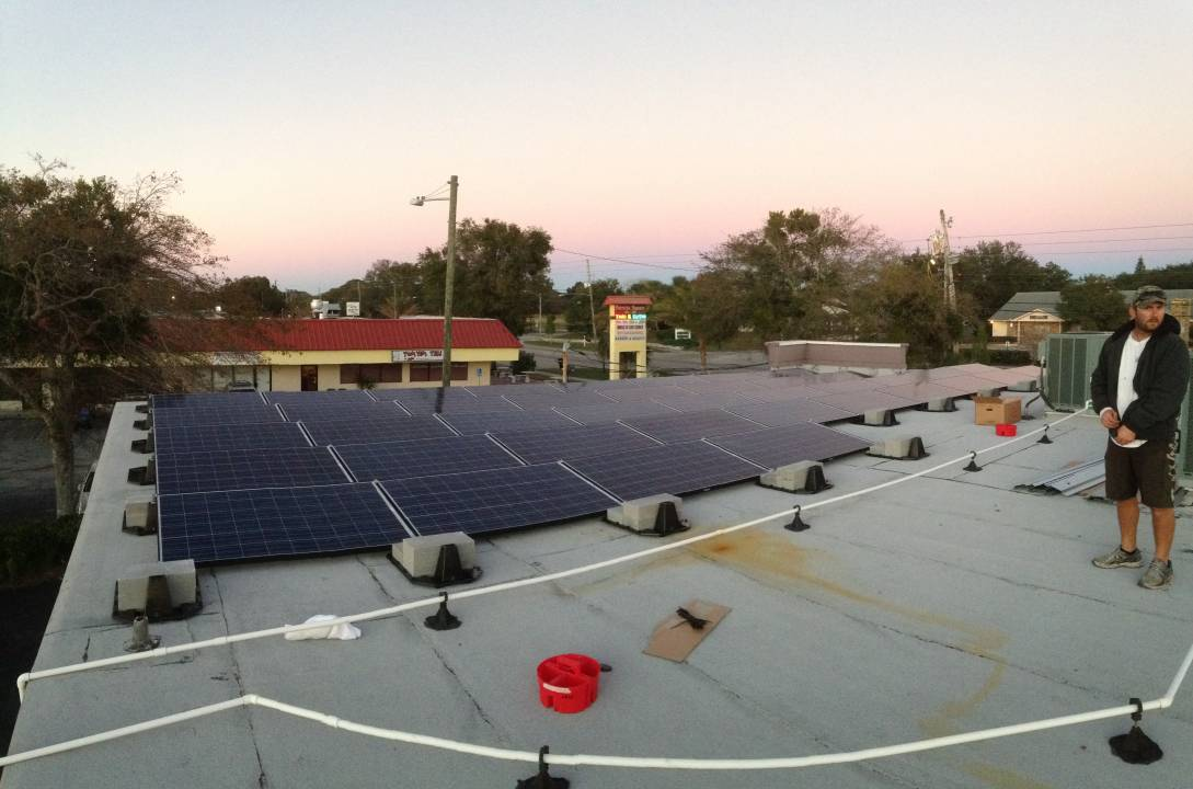 Roof view of commercial solar installation in Dunedin, FL
