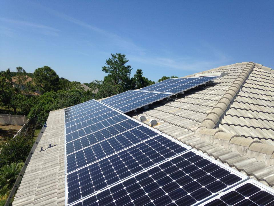 Solar Panels Mounted on a Tile Roof