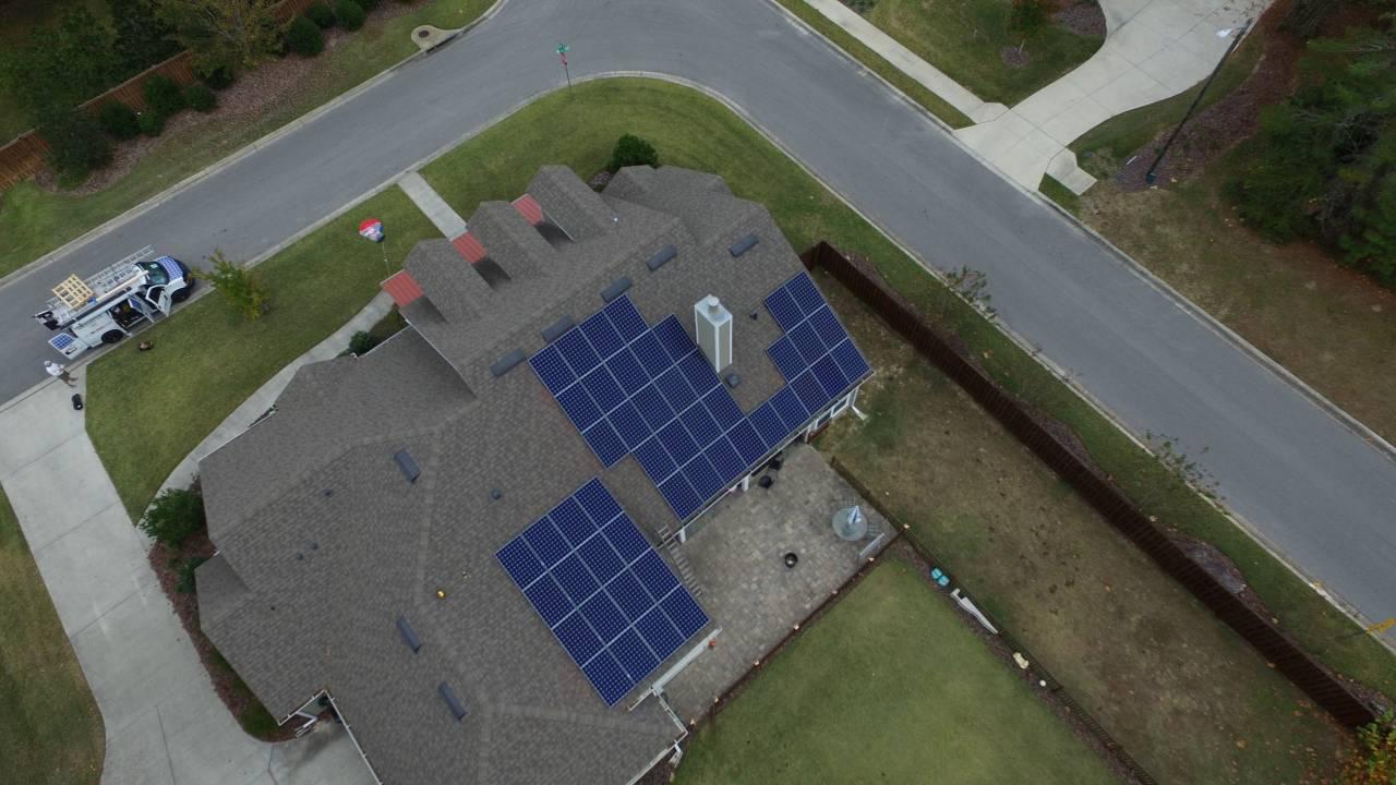 Overhead Drone Photo of Solar Array