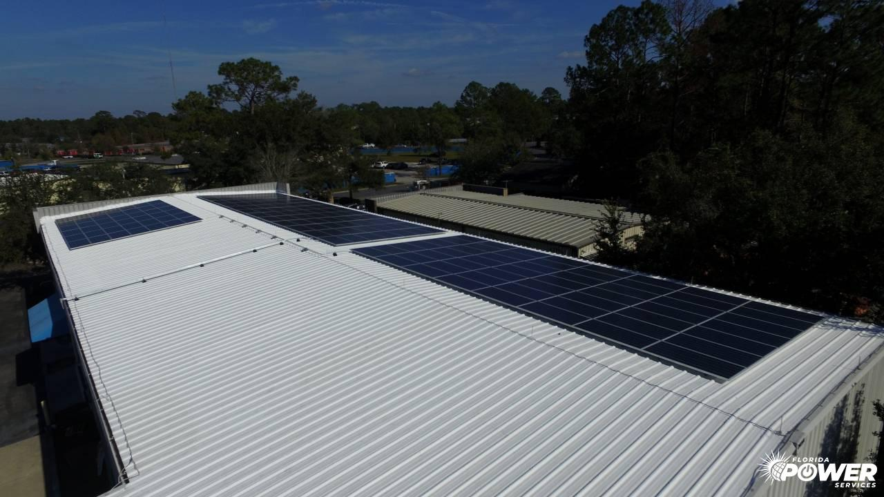 Overhead View of 60 kW Commercial Solar Panels