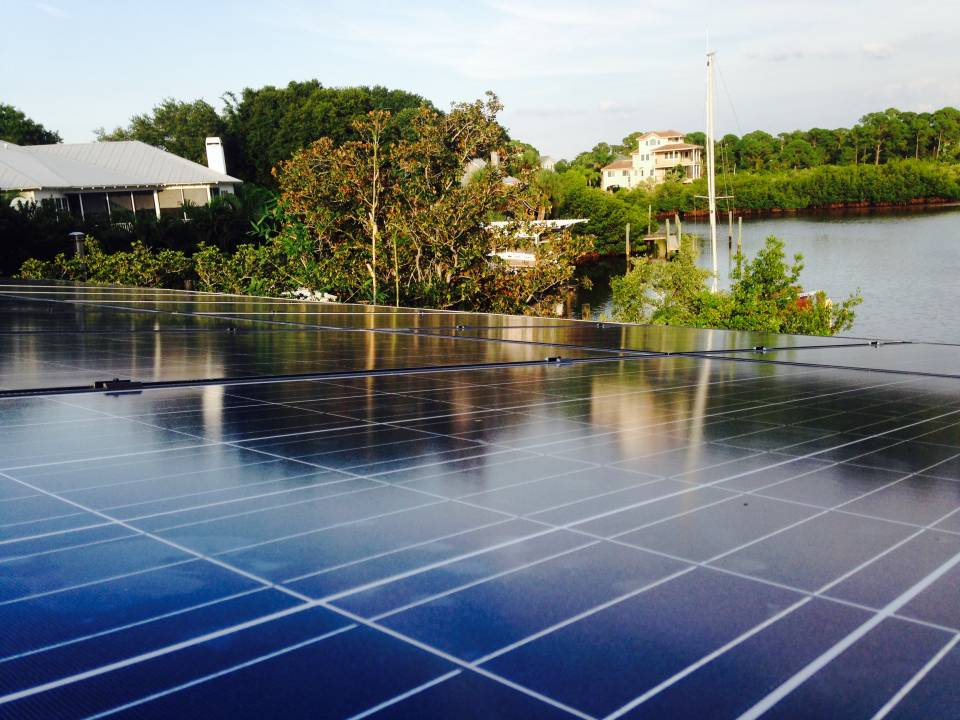 Roof view of solar installation in Crystal Beach, FL