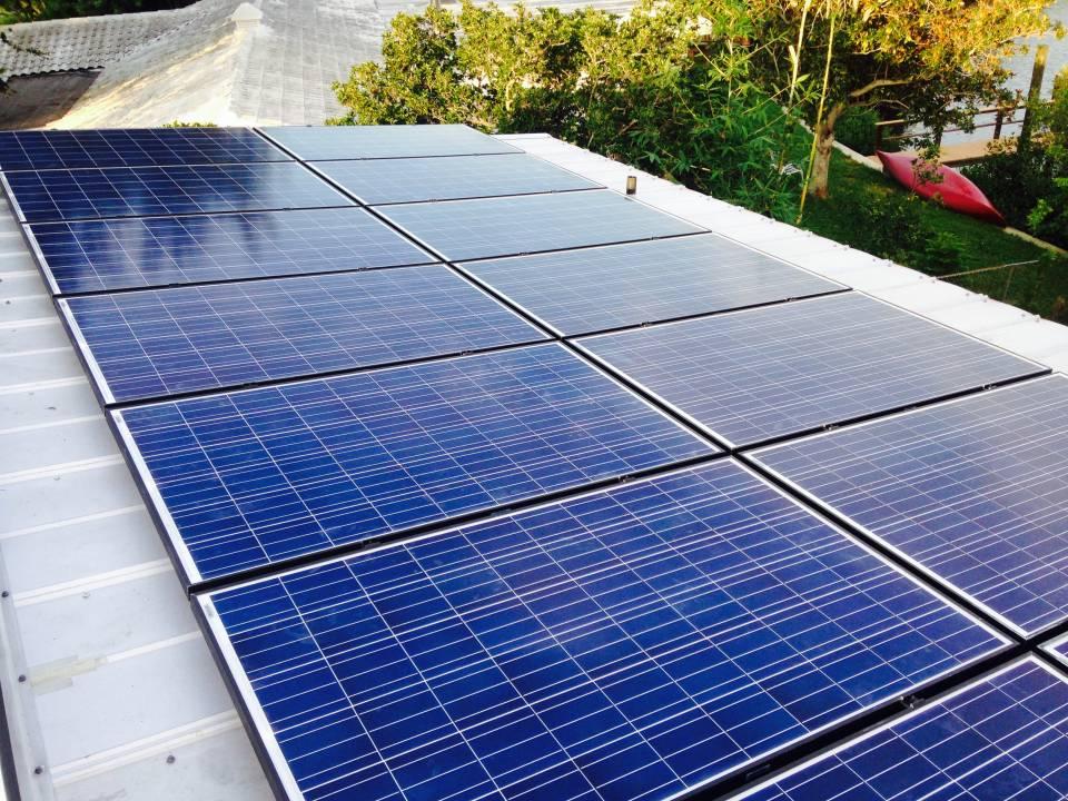 Aerial view of solar installation in Crystal Beach, FL