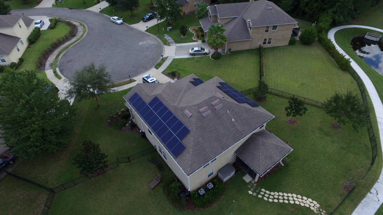 Overhead Drone Photo of Solar Array