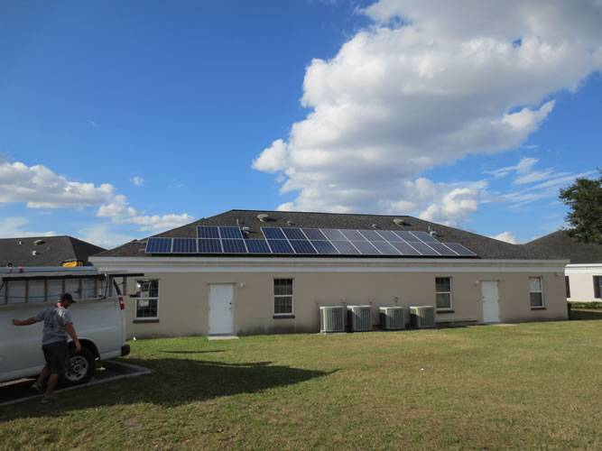 Side view of a solar installation in Valrico, FL