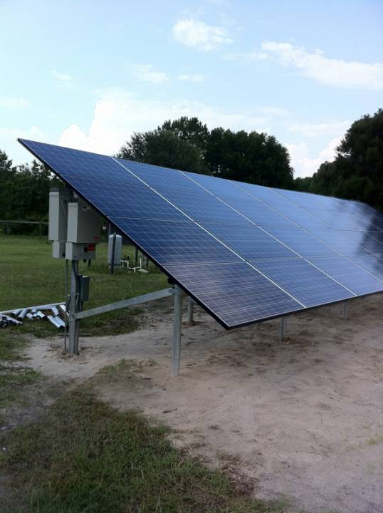 Solar array on a ground mount in Fort White, FL