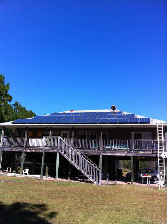 Side view of a solar battery backup system installed in Navarre, FL