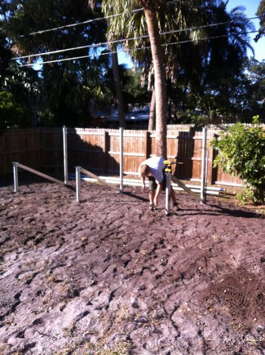 Setting up the Ground Mount for a solar array in St. Pete