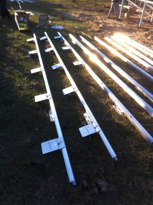 Installing solar racks for solar installation in Morriston, FL