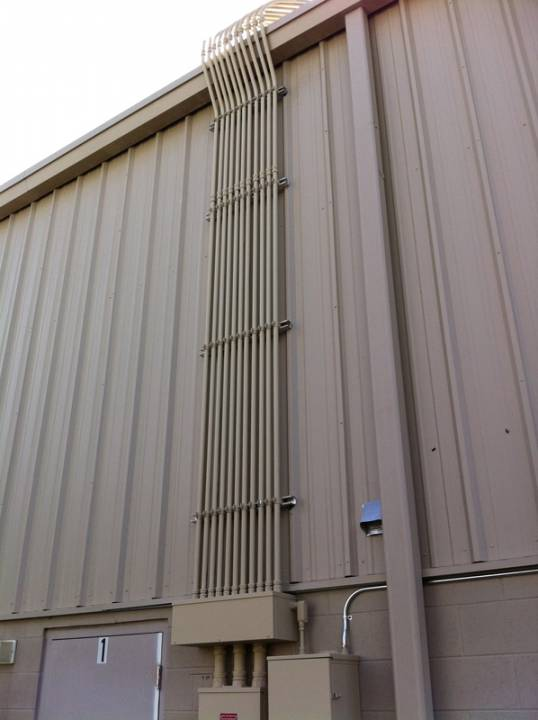 Conduit run for a solar system installed on a commercial building in Orlando, FL