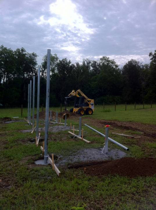 Laying the foundation for a ground mount solar installation in Micanopy, FL