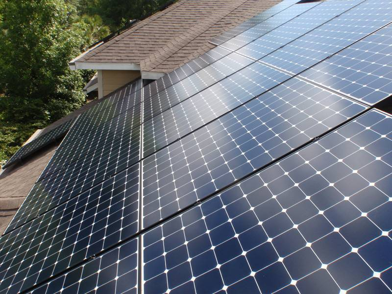 Roof View of Solar array installed in Gainesville, FL
