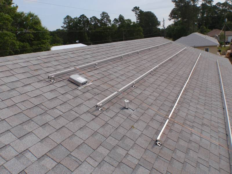 Solar Racks installed on a shingle roof in St. Augustine, FL