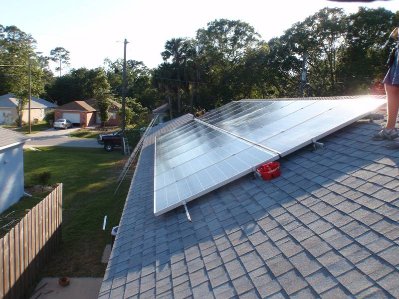 Solar Array installed on a shingle roof in St. Augustine, FL