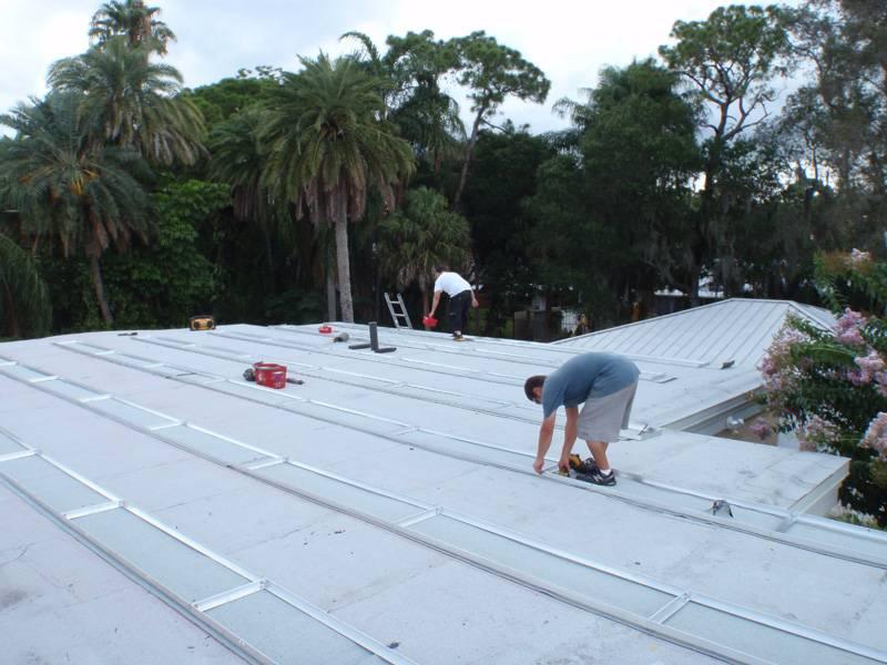Installing the solar mounts in St. Pete, FL