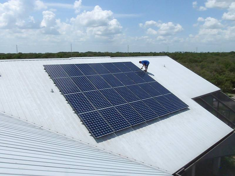 Roof view of solar system installed on a metal roof in Auburndale, FL