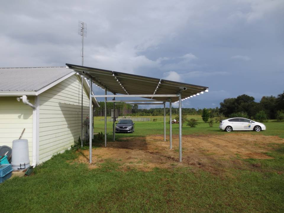 Side View of Completed Ground Mount for Solar Car Port in Williston, FL