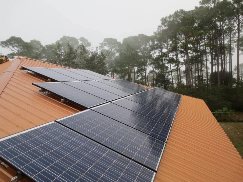 Solar Array on a metal roof in Eastpoint, FL
