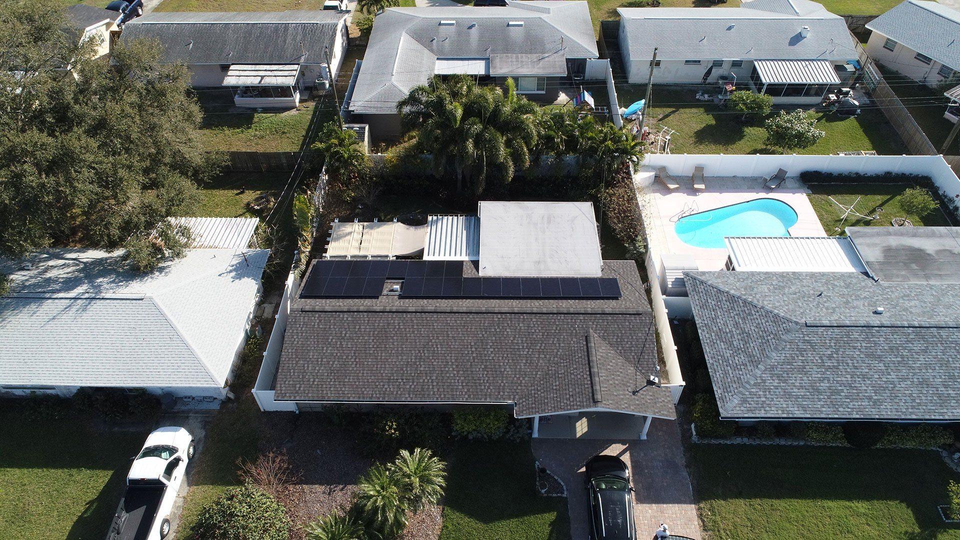 Aerial View of solar installation in Seminole, FL