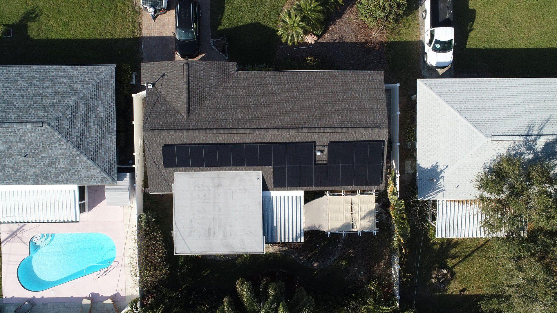 Overhead View of solar installation in Seminole, FL