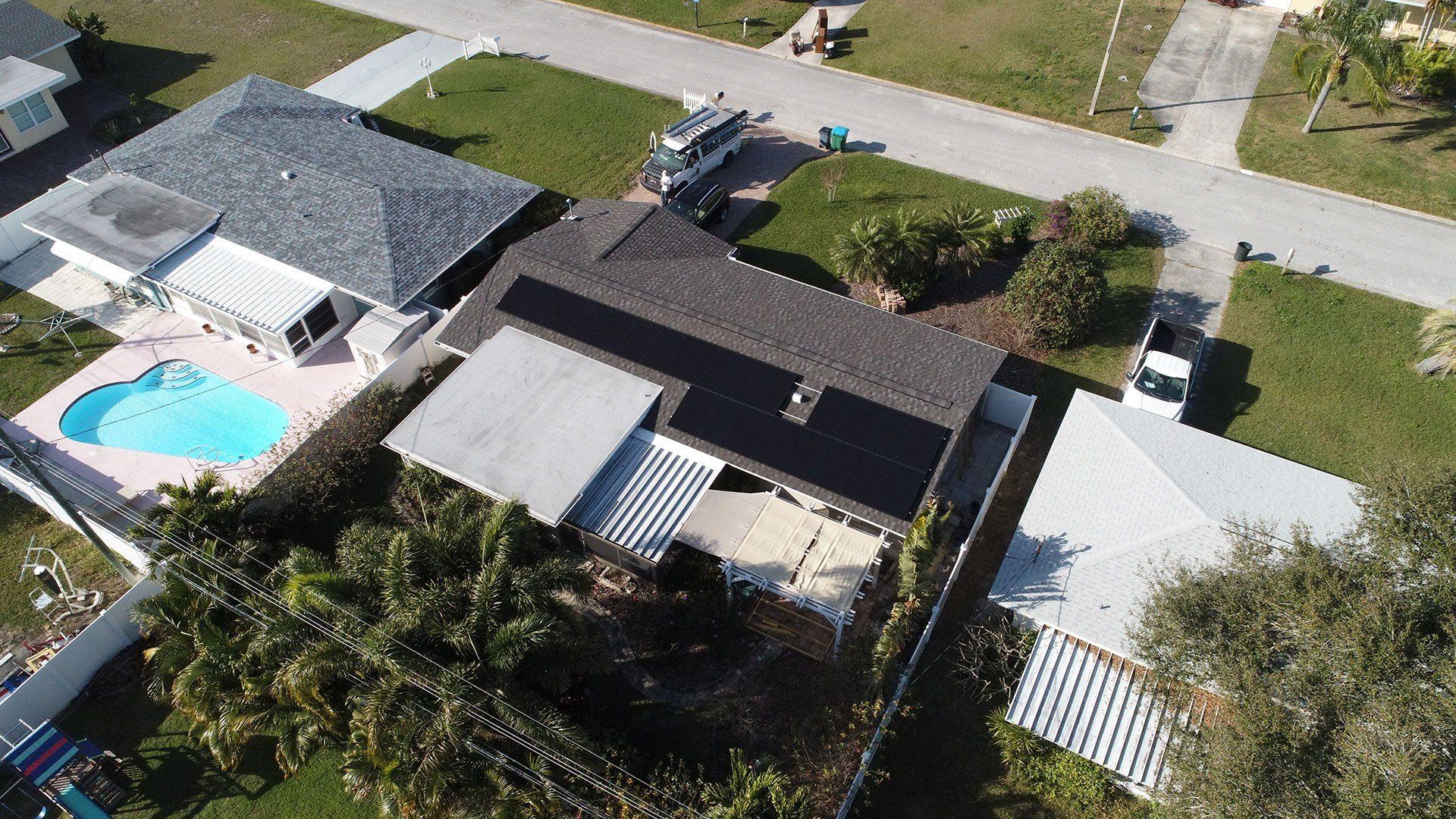 Drone View of solar installation in Seminole, FL
