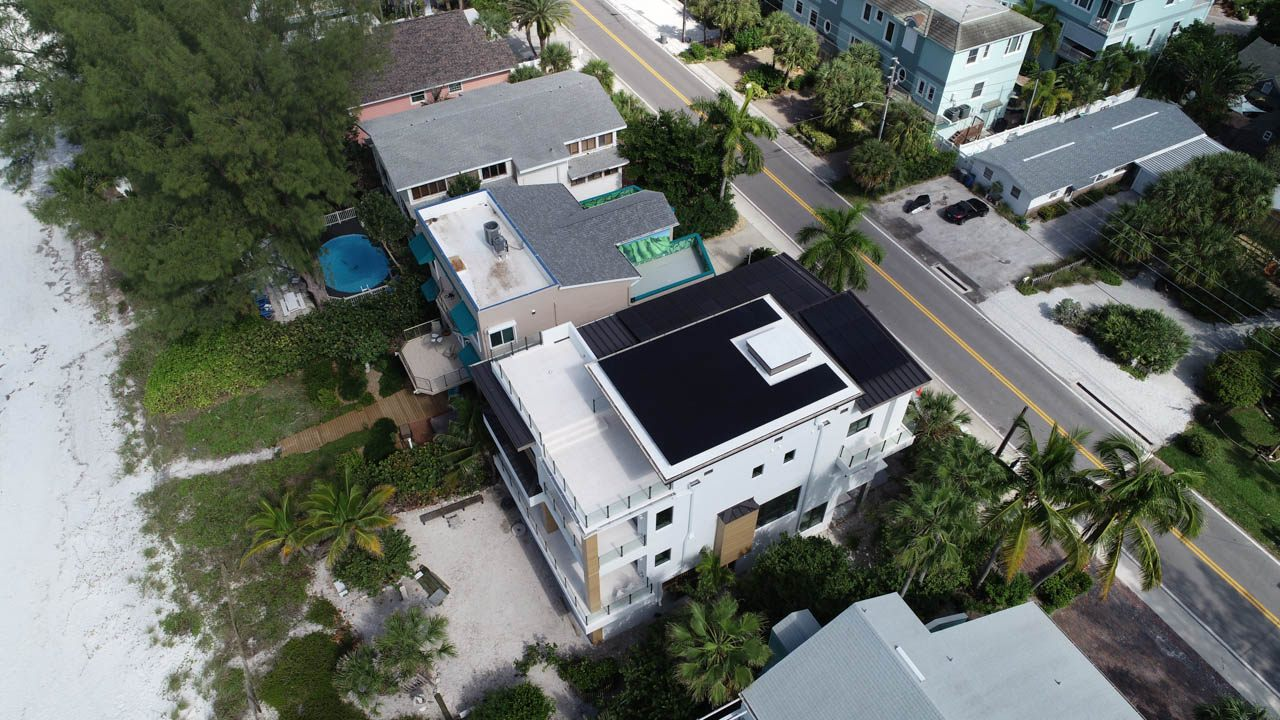 Aerial View of a solar installation on a metal roof in Treasure Island, FL