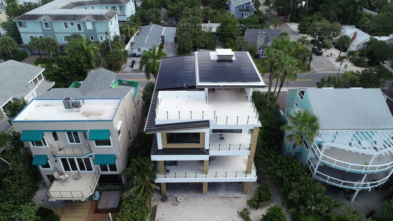 Rear view of a solar installation on a metal roof in Treasure Island, FL