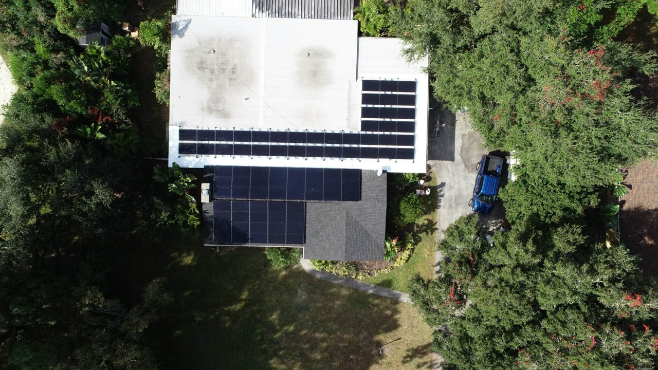 Drone view of a solar installation on a shingle roof in Clearwater,FL