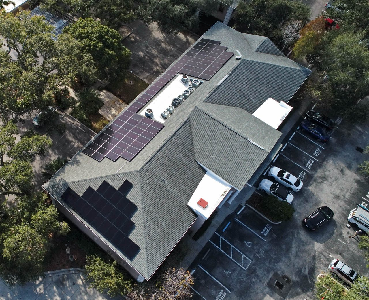 Aerial View of a Solar Installation on a shingle roof in Clearwater, FL
