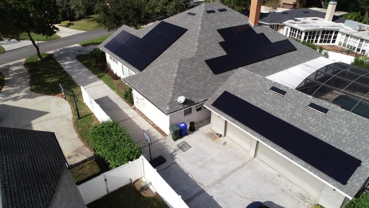 Solar Arrays on a shingle roof in Lakeland, FL