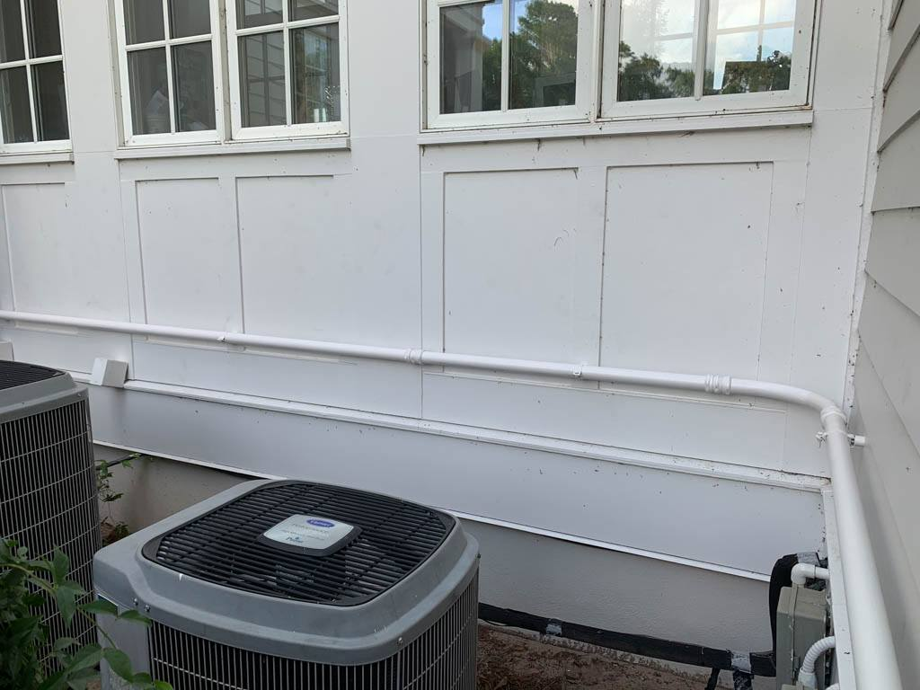Conduit run painted to match for a solar installation on a metal roof in WInter Haven, FL