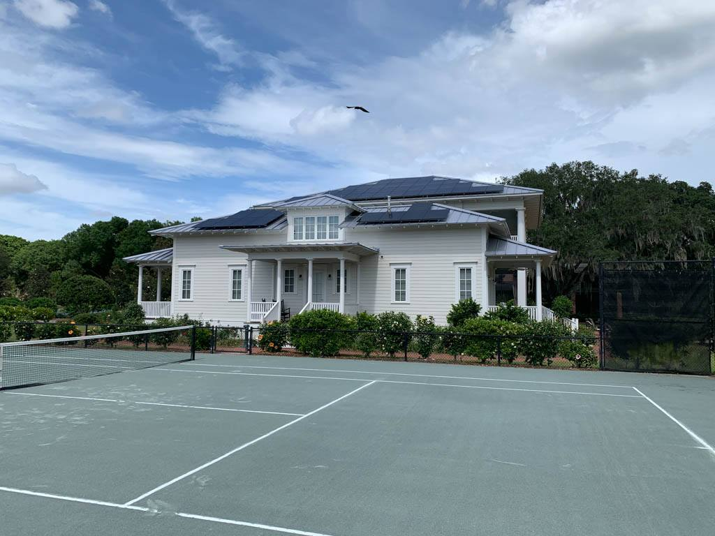 Side view of a solar installation on a metal roof in WInter Haven, FL