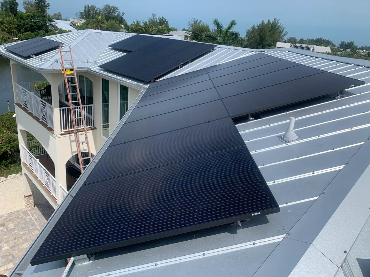 Solar Array installed on a metal roof in Holmes Beach, FL