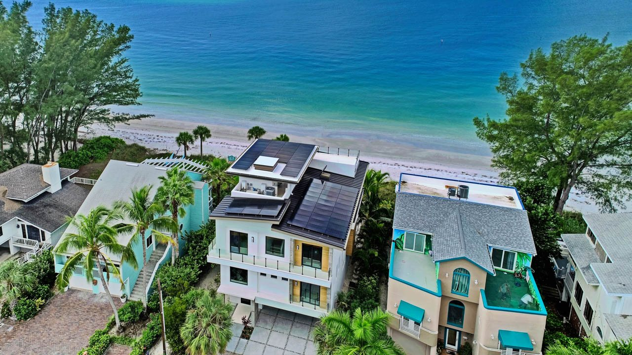 Drone view of a solar installation on a metal roof in Treasure Island, FL