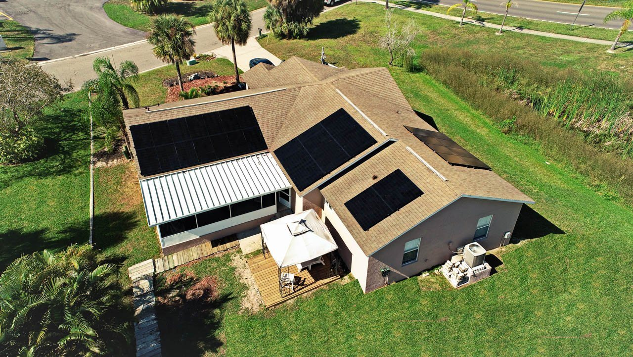 Roof view of solar system installed on a shingle roof in Apollo Beach, FL